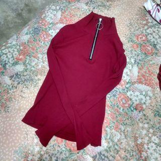 red half-zip long sleeve