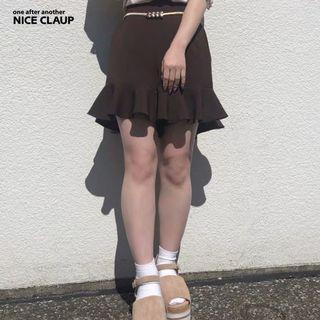 Nice Claup HIT! 甜美高腰荷葉邊短褲 附腰帶