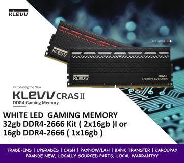 KLEVV CRAS 2 16gb DDR4-2666 or 32gb DDR4-2666 WHITE LED RAM
