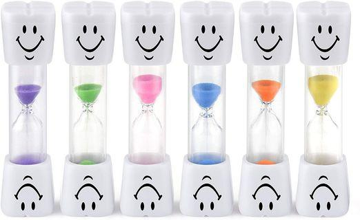 (A139) FEPITO Sand Timer Smiley Toothbrush Timer For Games ,Cooking, Tooth Brushing Time Countdown Calculation, 2mins 3mins (Pack of 6)