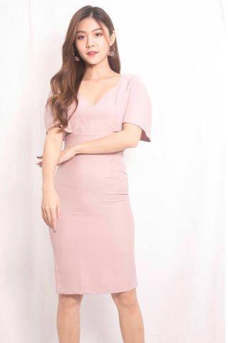 Adali sleeved dress in Pink/ Date / Formal / Dinner / wedding / bridesmaid