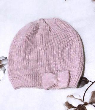 Brand New Authentic H&M Knitted Woolen Pink Light Shimmering Beanie with Ribbon For Toddlers