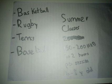 Sport classes summer