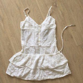 White cotton linen beach dress
