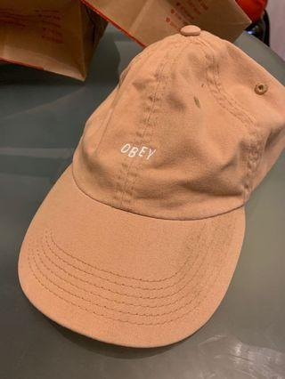 OBEY hat cap brown khaki adjustable strap and metal buckle