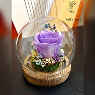 永生花玻璃球 保鮮花玻璃球 永生花玫瑰花 保鮮花玫瑰花