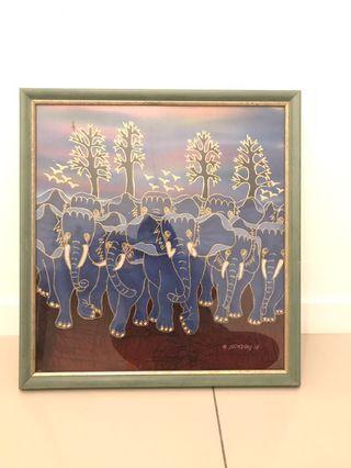 Painting ORIGINAL BALI BATIK painting and frame