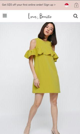 Love Bonito Jaldyn Ruffle Off Shoulder Dress, Lime