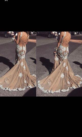 Ice Blue Beaded Backless Prom Dress with Train