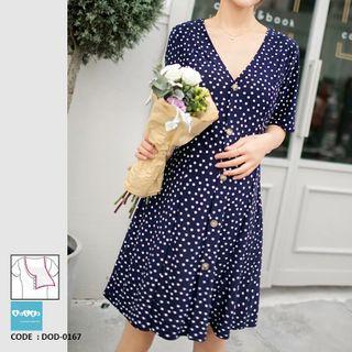 ea984afea96d0 Polkadot Maternity Nursing Dress DOD-0167