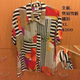 🚚 Hera clothes> 全新 大尺碼 襯衫 古著 長版 墊肩 雪紡 圖騰 XL