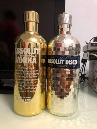 🚚 Absolut Vodka gold bling and disco empty bottle