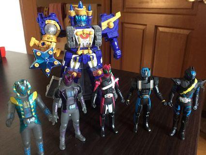 Kamen Rider sofubi and Orion Battler minipla lot