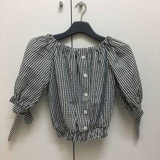 Checkered off shoulder top