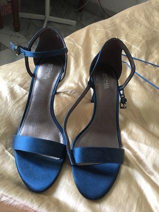 Michael kors blue satin heels sz 8.5