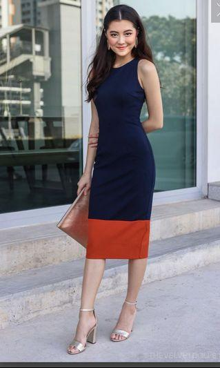 TVD JENNER COLORBLOCK BODYCON DRESS IN NAVY CORAL