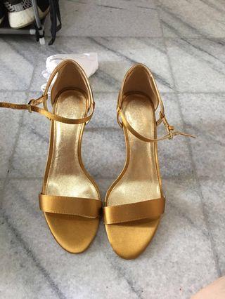 Michael kors Gold Satin heels strap sandals