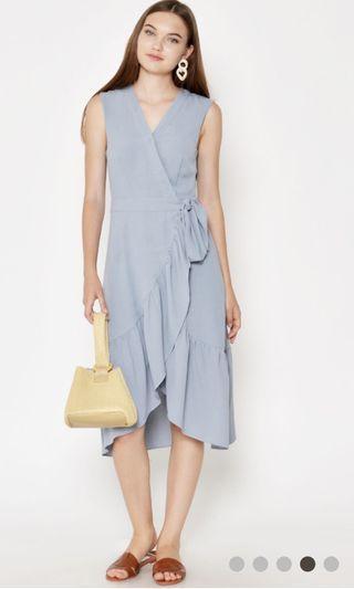 Love & Bravery Chrissy Ruffle Wrap Midi Dress Light Blue
