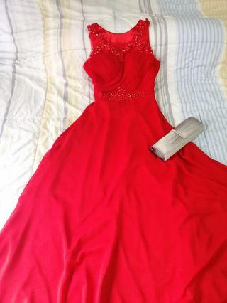 Red Embroidered Evening Dress