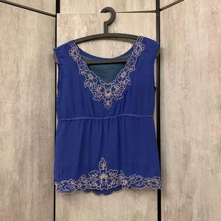Blue Floral Scallop Embroidery Embroidered Top Blouse