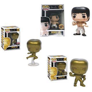 Bruce Lee Set of 3 - White Pants, Gold Nunchucks & Gold Flying Kick