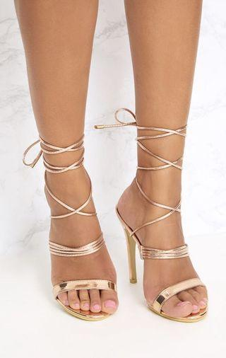 Brand new gold lace up heels size 7