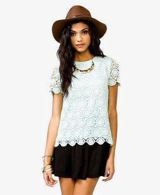 Forever 21 Forever21 F21 Mint Green Crochet Lace Scallop Sleeve Hem Blouse Top