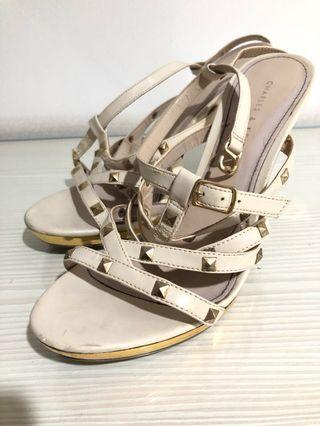 Charles & Keith studded gold heels