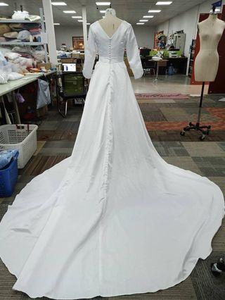 Boat Neck Modest Wedding Dress
