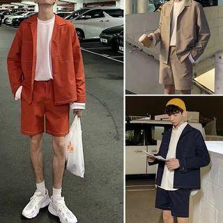 Ulzzang casual outline thread jacket+berms *SET*