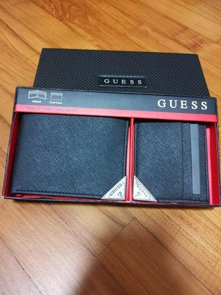 Brand new with tag in box Authentic Guess men Black wallet with Black card case