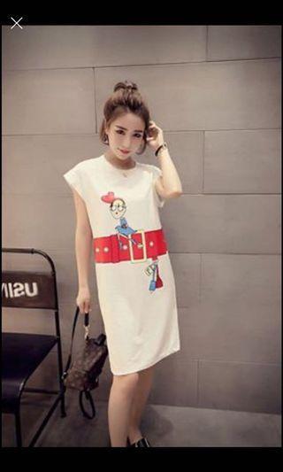 🚚 instock ~ new  3XL white full cotton dress (1pc)