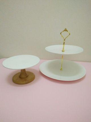 Ceramic Cake/Dessert Stand & 2-Tier Hightea Stand