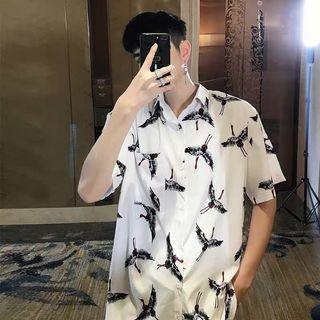 Ulzzang indie oversize cranes button shirt