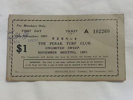 The Perak Turf Club Unlimited Sweep Ticket 1957