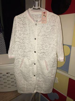 全新 [韓國] 白色通花七分袖長外套 White cardigan #MTRmk #MTRcwb