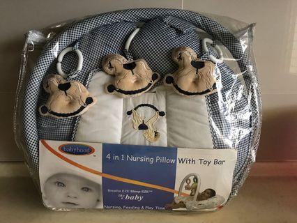 Nursing pillow 4 in 1 with toy Bar