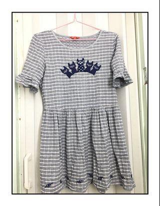 短款連身裙cute cat短裙間條娃娃裙