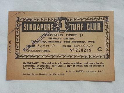 Singapore Turf Club Sweepstakes Ticket 20th February 1965