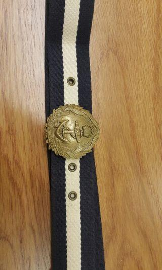 Polo Ralph Lauren Classic Two Tone Colors Striped Canvas Belt Metal Buckle