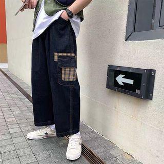 Ulzzang wide cargo Sherlock checks denim jeans