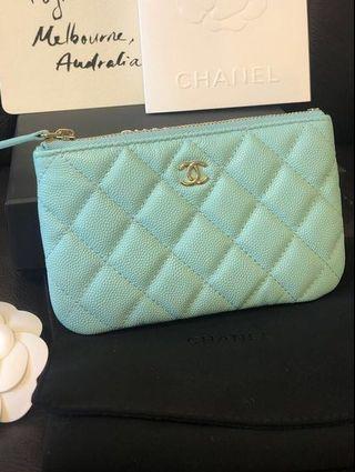 RARE Chanel 19s Tiffany blue mini o case NEW with receipt ocase