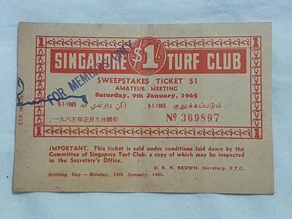 Singapore Turf Club Sweepstakes Ticket 9th January 1965