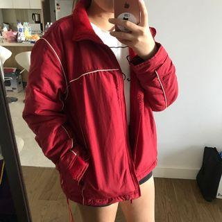 old navy red windbreaker sweater