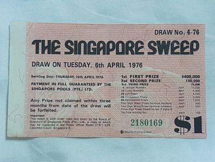 The Singapore Sweep Ticket 6th April 1976