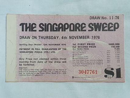 The Singapore Sweep Ticket 4th November 1976