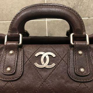 🚚 Chanel荔枝牛皮深咖啡色波士頓包