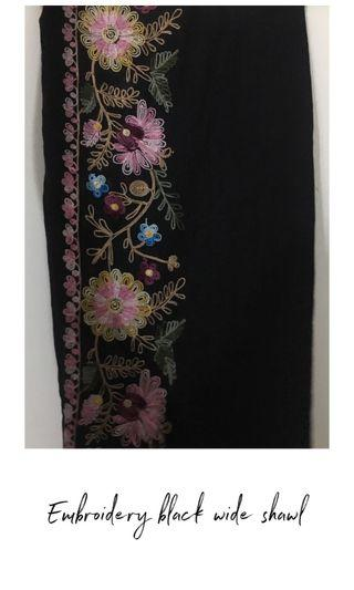 Embroidery black wide shawl