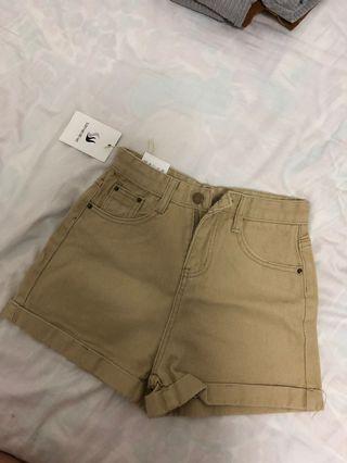 Denim khaki shorts