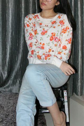 forever 21 croptop sweater, flower sweater, crop sweater